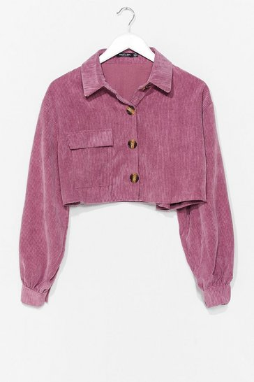 Mauve Play the Record-uroy Cropped Shirt