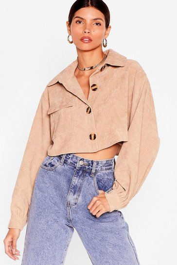 Stone Play the Record-uroy Cropped Shirt