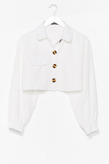 White Cropped Cord Shirt