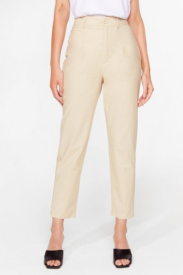 Beige Taper a Chance on Me High-Waisted Pants