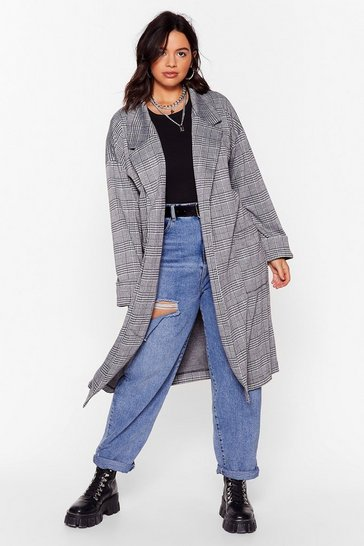 Black Check Point Plus Longline Coat