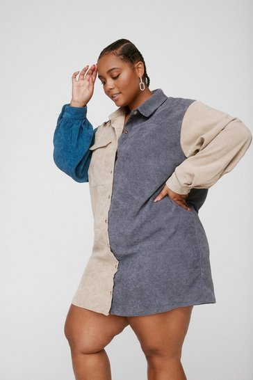 Grey Plus Size Corduroy Colorblock Shirt Dress