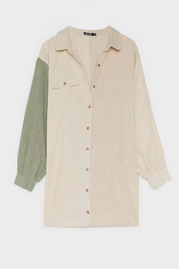 Stone Plus Size Corduroy Colorblock Shirt Dress