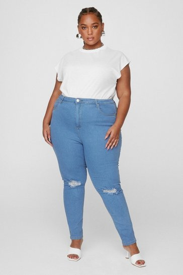 Light wash Plus Size Distressed Knee Skinny Jeans