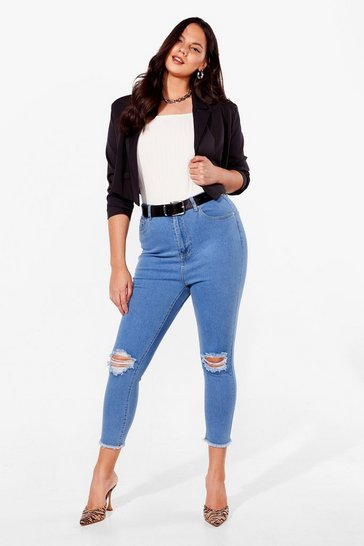 Light wash Plus Size Ripped Skinny Jeans