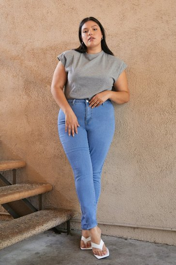 Light wash Plus Size Stretchy Skinny Jeans
