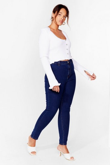 Mid wash Plus Size Stretchy Skinny Jeans