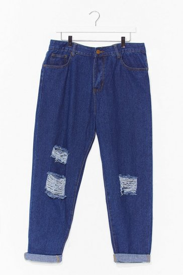 Mid blue Plus Size High Waisted Distressed Jeans