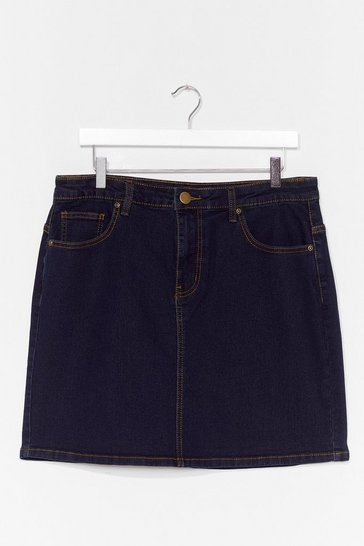 Dark blue Be There in a Mini Plus Denim Skirt