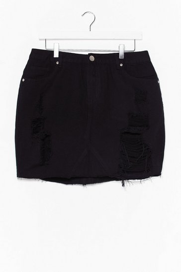 Black Plus High Waisted Distressed Skirt