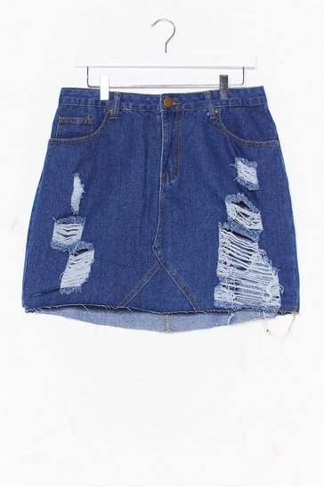Mid blue Plus High Waisted Distressed Skirt