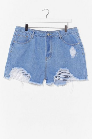 Light wash Best Distressed Plus Denim Shorts