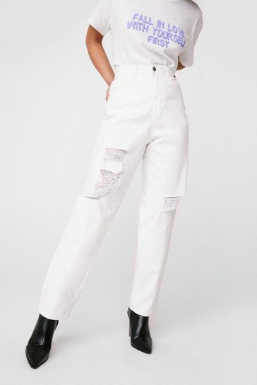 Ecru Relaxed White Wash Distressed Jeans
