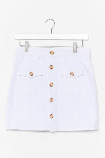 Ecru Button Through Mini Skirt