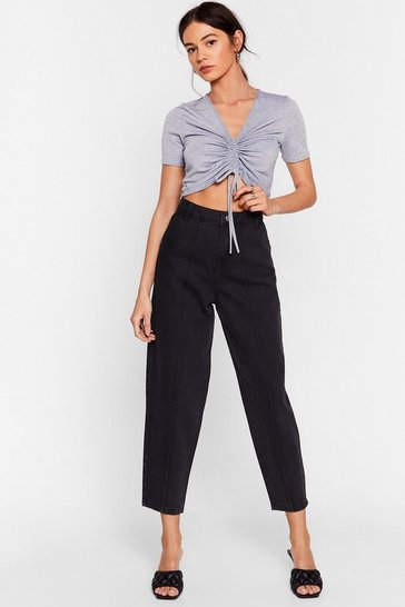 Washed black Put a Crop to It High-Waisted Jeans