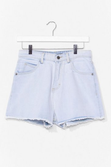 Light blue We Raw You Lookin' High-Waisted Denim Shorts