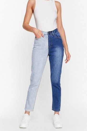 Light blue Step Two-Tone High-Waisted Mom Jeans