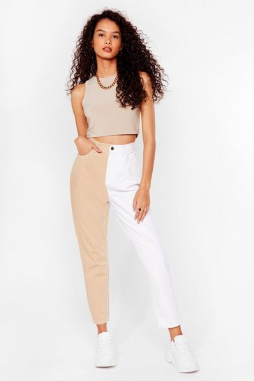 Sand Two Tone High Waisted Mom Jeans