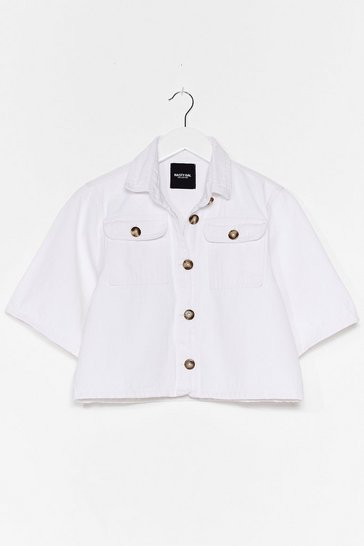Ecru Out of the Boxy Button-Down Cropped Shirt