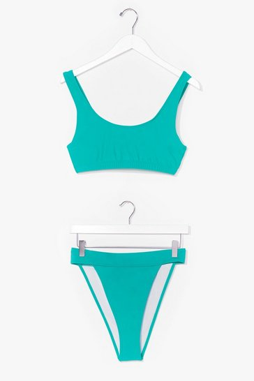 Green Moving Up Crop Top High-Leg Bikini Set