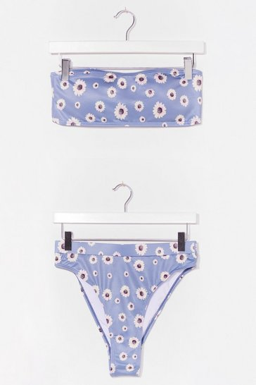 Blue Recycled Swim Good Floral Bandeau Bikini Set