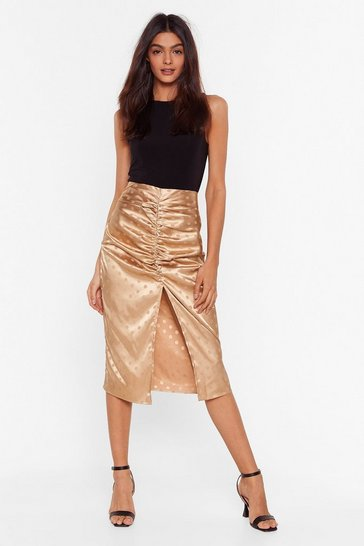 Gold Watch Dot Happens Satin Midi Skirt