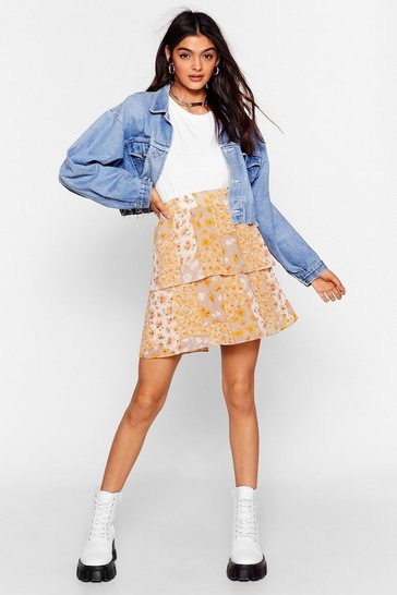 Apricot Let's Patch Things Up Floral Mini Skirt