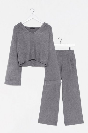 Lilac Rest Up Ribbed Hoodie and Wide-Leg Pants Set
