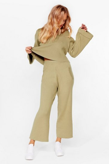 Olive Rest Up Ribbed Hoodie and Wide-Leg Pants Set