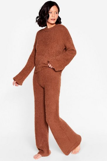 Brown Luxe Good to Me Fluffy Knit Wide-Leg Lounge Set