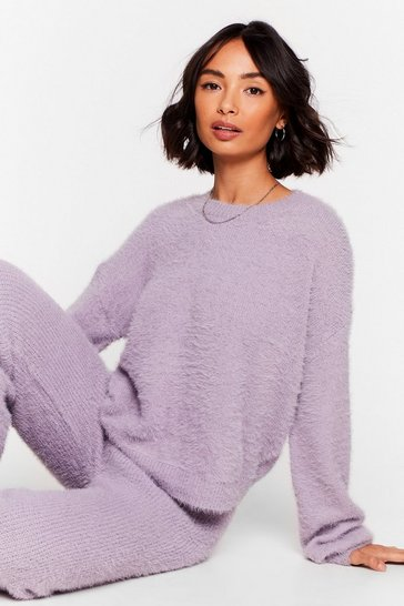 Lavender Luxe Good to Me Fluffy Knit Wide-Leg Lounge Set