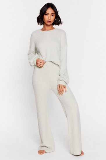 Mint Deluxe Fluffy Knit Wide Leg Loungewear Set