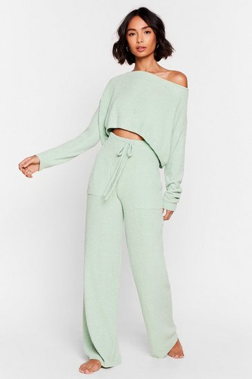 Mint Chenille With It Sweater and Wide-Leg Lounge Set