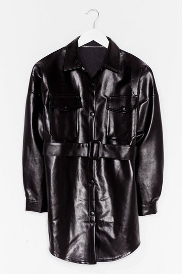Black Faux Leather Change Belted Longline Jacket