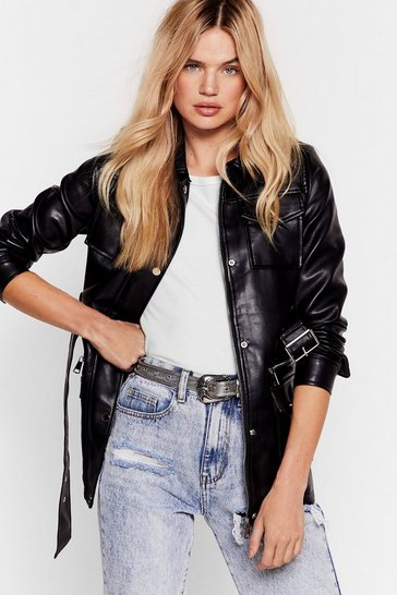 Black Faux Leather Belted Utility Biker Jacket