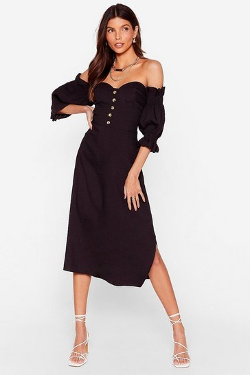 Black Low Blow Off-the-Shoulder Midi Dress