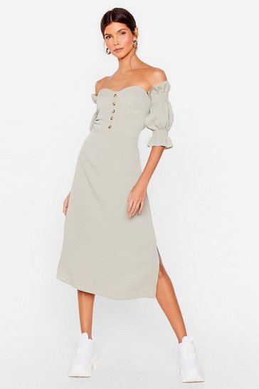 Sage Low Blow Off-the-Shoulder Midi Dress