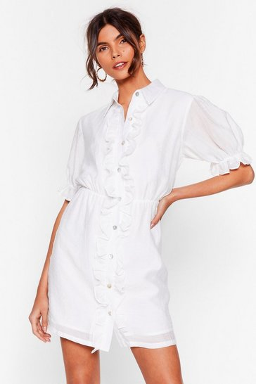 White Get 'Em Where It Shirts Ruffle Mini Dress