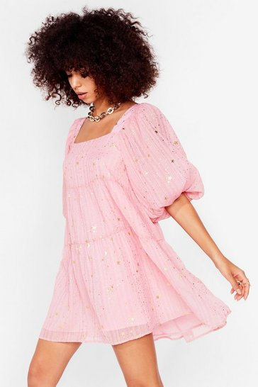 Pink Star Light Tiered Mini Dress