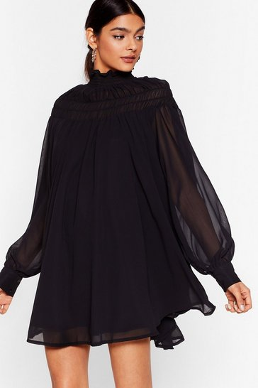 Black Swing Around Chiffon Mini Dress
