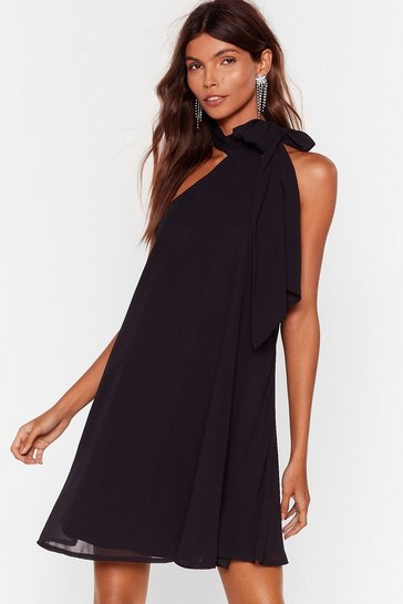 Black All the Reasons Tie Chiffon Mini Dress