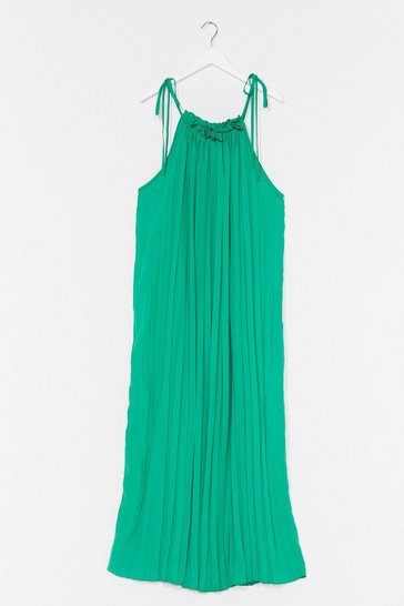 Green  Pleated Drop Arm Maxi Dress