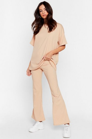 Stone Together Again Oversized Tee and Flare Trousers Set