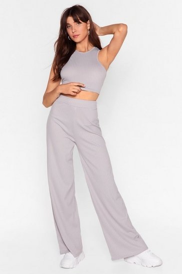 Grey Top And Wide-Leg Pants Set