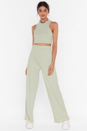 Sage Get Straight to It Top and Wide-Leg Pants Set