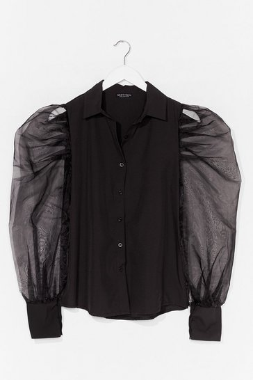 Black Strut Your Puff Sleeve Organza Shirt