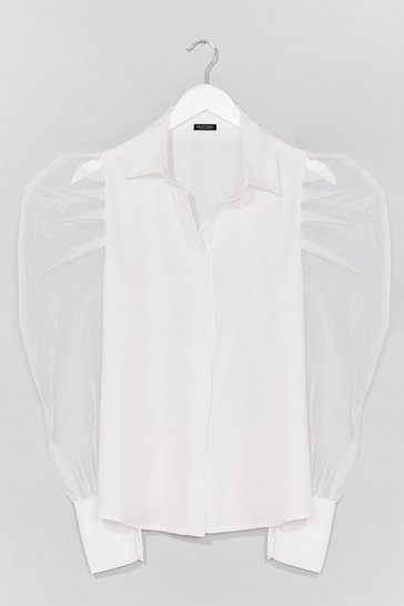 White Strut Your Puff Sleeve Organza Shirt