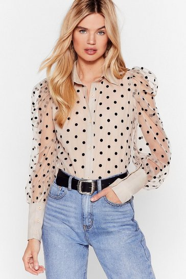 Beige We Kid You Spot Organza Puff Sleeve Shirt