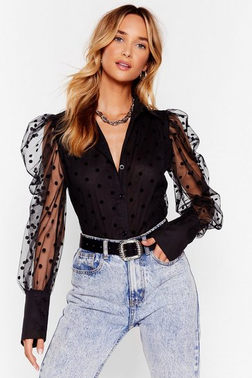 Black We Kid You Spot Organza Puff Sleeve Shirt