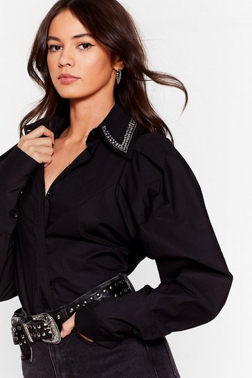 Black Collar At You Diamante Puff Sleeve Shirt